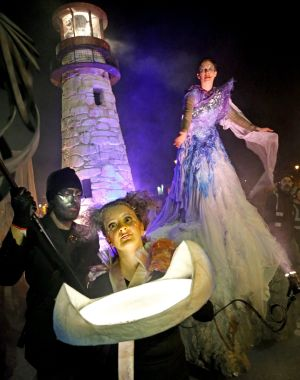 The Macnas Halloween Parade, passes by the Claddagh in Galway city. Photograph: Joe O'Shaughnessy