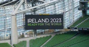 The big screen in the Aviva Stadium at the announcement in 2016 of Ireland's bid for the 2023 Rugby World Cup. Photograph:  Billy Stickland/Inpho