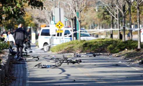 Multiple bikes are crushed along a bike path in lower Manhattan.  Photo: Reuters/Brendan McDermid
