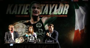 Newly crowned WBA female world lightweight champion Katie Taylor during her homecoming press conference at the Irish Film Institute in Dublin. Photograph: Brian Lawless/PA