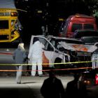 Police investigate a pickup truck used in an attack on the West Side Highway in Manhattan, New York. Photograph: Reuters