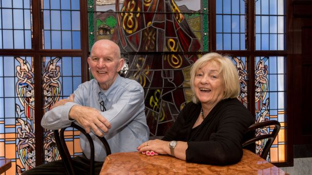 Sculptor and proprietor of Bewley's Paddy Campbell with his wife and business partner Veronica. Photograph: Brenda Fitzsimons