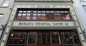 Exterior of the refurbished Bewley's Cafe on Grafton Street in Dublin, which reopens today. Photograph: Alan Betson