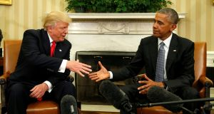 44 meets 45: President Obama and President-elect Trump in November 2016. Photograph: Kevin Lamarque/Reuters