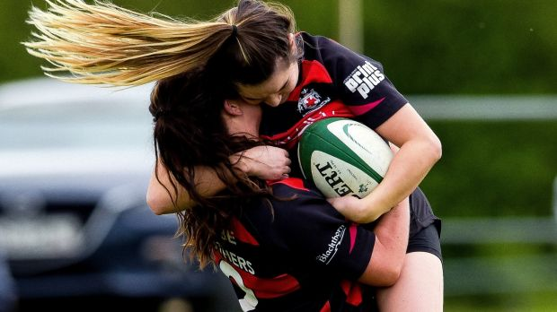 Tullamore's Ciara Dunican celebrates scoring a try with Ciara Farrell in the final of the Women's All-Ireland Plate. Photograph: Tom Beary/Inpho