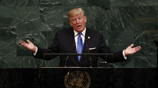 President Donald Trump during the opening session of the general debate of the 72nd United Nations General Assembly in New York, on September 19th. Photograph: Justin Lane