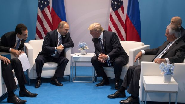 President Donald Trump meets Russian president Vladimir Putin at the G20 summit in Hamburg on July 7th, 2017. Photograph: Stephen Crowley/New York Times