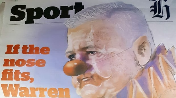 The front page of the New Zealand Herald early in the Lions tour depicted Gatland as a clown. Photo: Nick Purewal/PA