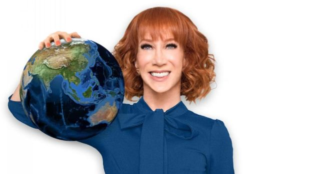 Kathy Griffin: the posters for the Laugh Your Head Off tour feature her holding a globe in a pose reminiscent of the controversial Trump photograph Kathy Griffin PR shot for her Laugh Your Head Off tour, mimicing the comtroversila Donald Trump photograph which landed her in very hot water