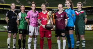 At the  launch of the national women's soccer  league    in March were  Ciara Delany (Kilkenny United), Louise Corrigan (Peamount United), Kylie Murphy (Wexford Youths), Pearl Slattery (Shelbourne), Meabh de Burca (Galway), Emily Cahill (UCD Waves) and Saoirse Noonan (Cork City). Photograph: Tommy Dickson/Inpho