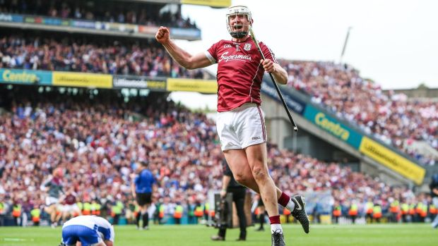 Joe Canning celebrates at the final whistle after Galway beat Waterford to win the All-Ireland. Photo: Tommy Dickson/Inpho
