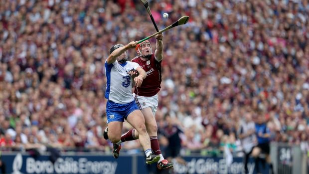 Noel Connors wins a ball ahead of Conor Whelan during the All-Ireland final. Photo: Tommy Dickson/Inpho