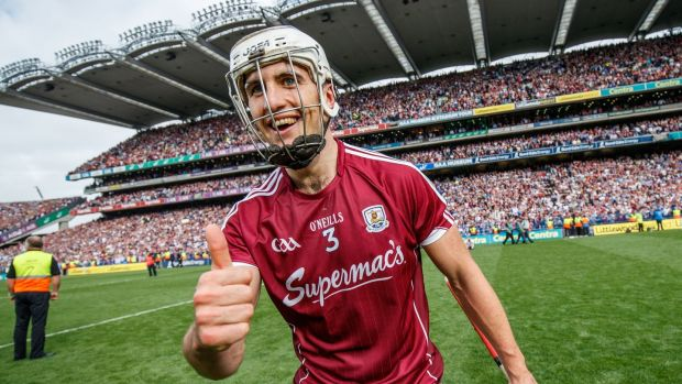 Galway's Daithi Burke celebrates after winning the All-Ireland in September. Photo: James Crombie/Inpho