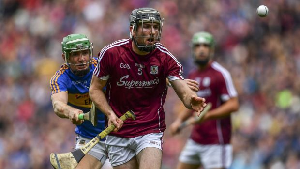 Pádraig Mannion plays a handpass during Galway's All-Ireland SHC semi-final clash with Tipperary. Photo: Sam Barnes/Sportsfile