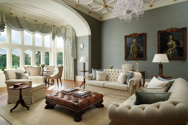 The Lady Augusta Suite sitting room overlooking the gardens