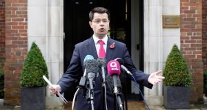 The UK's Northern Ireland Secretary of State, James Brokenshire, speaking to media outside Stormont House in Belfast on Wednesday. Photograph: Peter Morrisson/Reuters