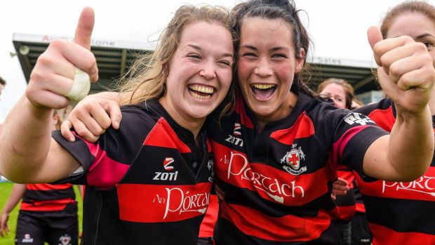 Tullamore's Claire Cummins and Nichola Fryday celebrate at the final whistle of the All-Ireland Plate final in 2014. Photo: Tom Beary/Inpho