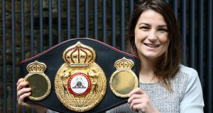 WBA  world lightweight champion Katie Taylor during her  homecoming press conference at the Irish Film Institute in Dublin. Photograph: Brian Lawless/PA Wire