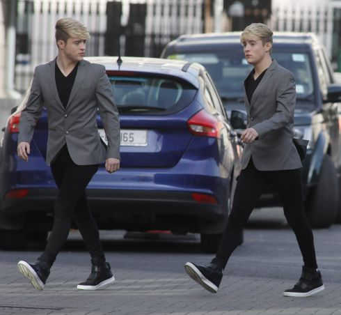 DOUBLE TAKE: John and Edward Grimes, also known as Jedward, pictured at the Four Courts for a High Court action taken against them by Patrick Joseph Noonan. Photograph: Collins Courts