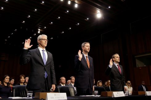 RUSSIA HEARING: Lawyers for tech firms are sworn in prior to testifying before a US Senate committee on Russian meddling in the 2016 election, on Capitol Hill. Photograph: Joshua Roberts/Reuters