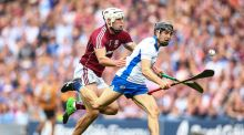 Galway's Gearóid McInerney and Jamie Barron of Waterford in the senior All-Ireland final at Croke Park. Both have collected an All-Star award. Photograph: Cathal Noonan/Inpho