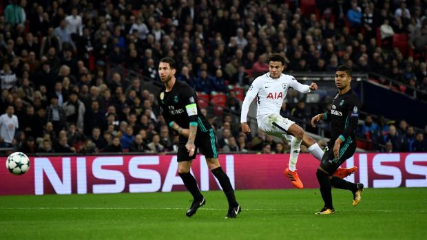Tottenham's Dele Alli scores their second goal via a deflection off Real Madrid's Sergio Ramos. Photo: Dylan Martinez/Reuters