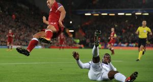Alex Oxlade-Chamberlain is fouled during Liverpool's Champions League win over Maribor. Photo:Peter Byrne/PA Wire
