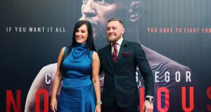 Conor McGregor with his partner Dee Devlin on arrival at the Conor McGregor: Notorious premiere at the Savoy Cinema in Dublin. PRESS ASSOCIATION Photo. Picture date: Wednesday November 1, 2017. Photo credit should read: Brian Lawless/PA Wire