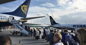 Ryanair's traffic grew by 12 per cent to 128.2 million customers in the year to October, on a rolling annual basis. Photograph: Bryan O'Brien