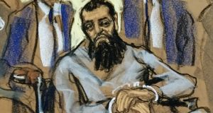 Sayfullo Saipov, the suspect in the New York City truck attack, is seen in this courtroom sketch appearing in Manhattan federal courtroom on Wednesday. Sketch:  Jane Rosenberg/Reuters