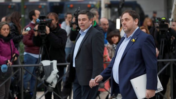 Catalan regional vice president, Oriol Junqueras (R), arrives to the Audiencia Nacional court in Madrid, Spain. Photograph: Fernando Alvarado/EPA