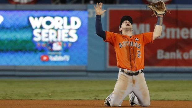 Alex Bregman celebrates the Houston Astro's World Series win over the LA Dodgers. Photograph: Eugene Garcia/EPA