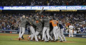 The Houston Astros celebrate their World Series victory over the LA Dodgers. Photograph: Mike Nelson/EPA