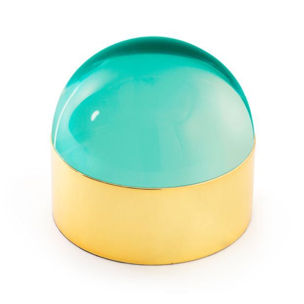 Jonathan Adler's green semi-spherical 'Globo' acrylic-and-brass boxes (large, €395) from Louise Kennedy