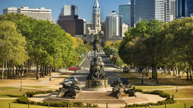 City hall and Benjamin Franklin Parkway Philadelphia. Aer Lingus's newest route begins on March 25 2018