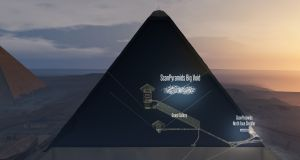 This handout 3D artistic view made by the ScanPyramids mission and released  by the Nature Publishing Group shows a hidden internal structure in Khufus Pyramid, the largest pyramid in Giza. Photograph: AFP/Nature Publishing Group/Getty Images