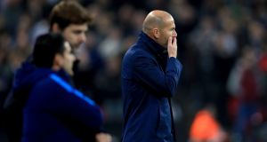 Wednesday night's defeat to Spurs has increased the pressure on Zinedine Zidane. Photograph: Mike Egerton/PA
