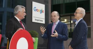 Liam Duggan, Eircode managing director; Minister for Communications, Climate Action and Environment, Denis Naughten; and Paddy Flynn, director of geo operations at Google
