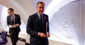 "Bank of England  governor Mark Carney. His suggestion that further rate rises would only be ""gradual and limited"" has been interpreted as meaning perhaps only one more rise in 2018, and ultimately a negative for sterling. Photograph: Getty Images"
