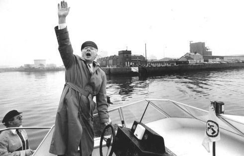 Gay Byrne arriving at the Point Depot, Dublin, by boat, for the opening of the Rothmans Sailing Irish Boat Show in 1991.   Photograph: Eric Luke / The Irish Times