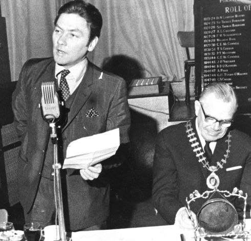 Gay Byrne, radio and television personality, guest speaker and Bart Bastable at the Publicity Club of Ireland in 1970. Photograph: The Irish Times
