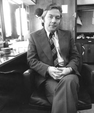 Gay Byrne, TV presenter of The Late Late Show, talks to Henry Kelly in 1974. Photograph: Tom Lawlor/The Irish Times
