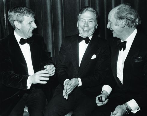 The taoiseach Jack Lynch (right) with broadcaster Gay Byrne (centre) and Donal Farmer at the Jacobs Radio and Television Awards at Leopardstown Racecourse in 1979. Photograph: Jimmy McCormack/The Irish Times
