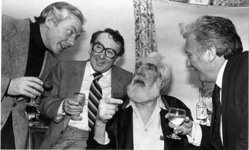 Noel Purcell celebrating his 81st birthday with from left Gay Byrne, Hal Roach, and Joe Lynch in 1981. Photograph: Eddie Kelly / The Irish Times