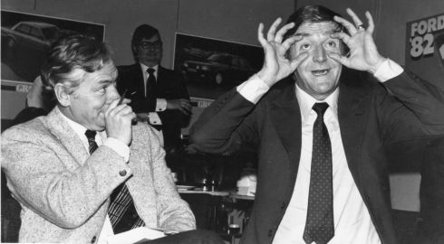 Gay Byrne and Michael Parkinson during an appearance at the ILAC centre in Dublin in 1981 for a Ford Motors promotion. Photographer: Tom Lawlor / The Irish Times