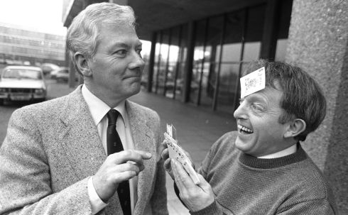 Gay Byrne and Paul Daniels outside the RTÉ studios in 1985. Photograph: Pat Langan/The Irish Times