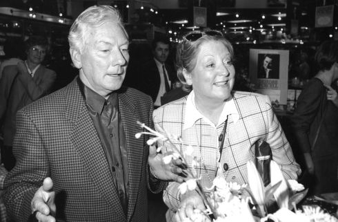 Gay Byrne and Kathleen Watkins at the launch of Deirdre Purcell 's book Falling for a Dancer in 1993. Photograph:  The Irish Times