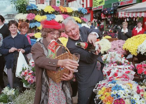 Gay Byrne with comedian Brendan O'Carroll on Moore Street to launch a National Lottery Christmas scratch card game in 1997. Photograph: Joe St Leger / The Irish Times