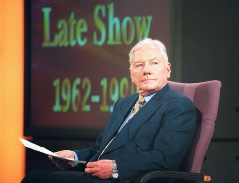 Gay Byrne on set at RTÉ during his last Late Late Show, after a 37-year run, in May 1999.  Photograph: David Sleator/The Irish Times