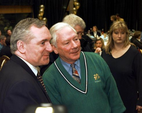 Taoiseach Bertie Ahern with the broadcaster at a surprise party for Gay Byrne in RTÉ